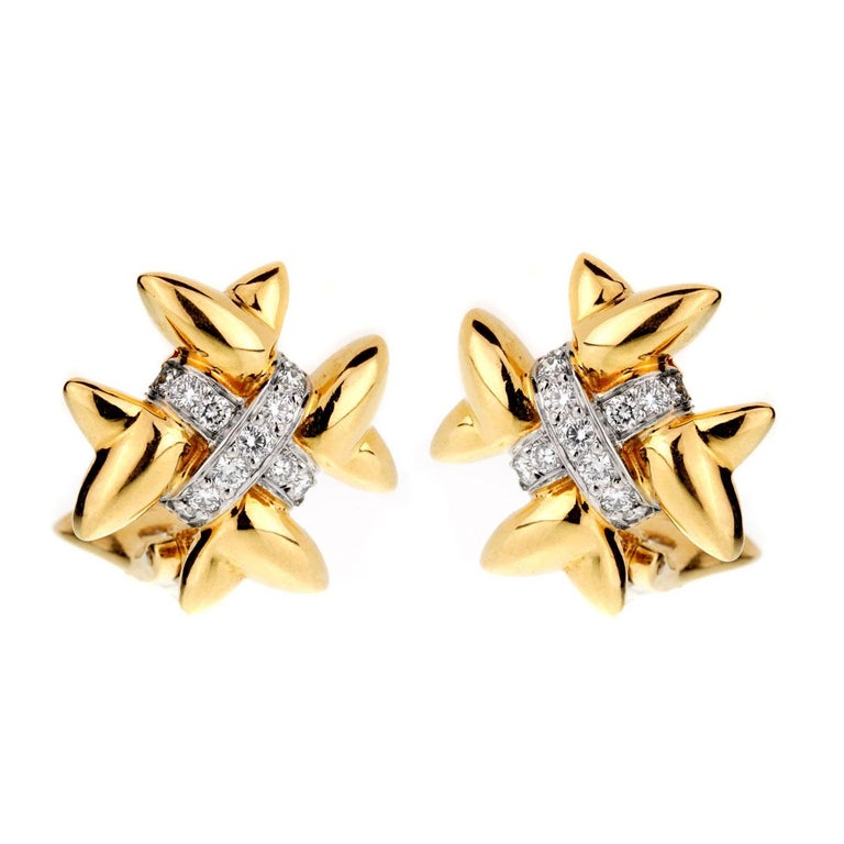 Tiffany & Co. Gold Diamond Cross Earrings In Excellent Condition For Sale In Feasterville, PA