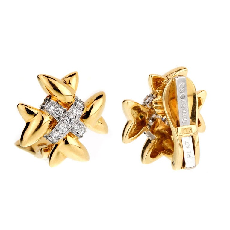 Women's Tiffany & Co. Gold Diamond Cross Earrings For Sale