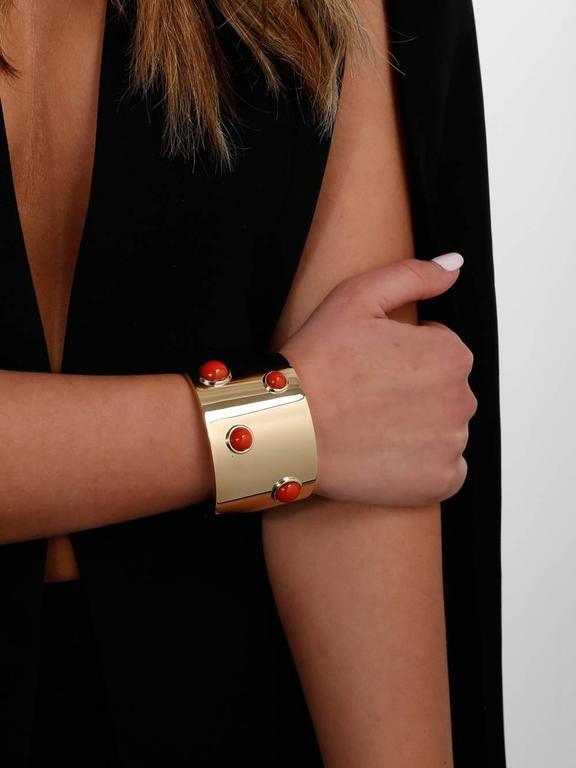Fred of Paris Coral Gold Arm Cuff Bracelet  2