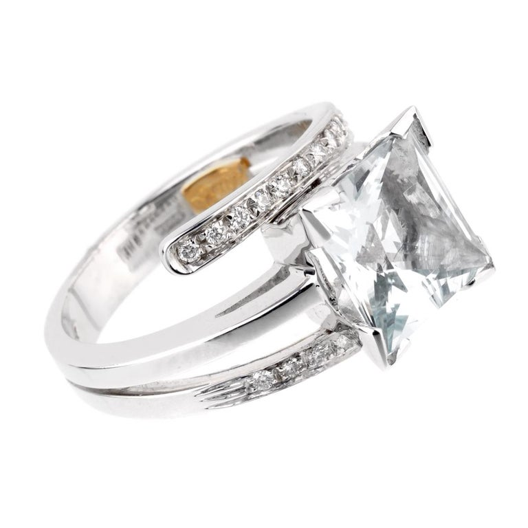 Recarlo Aquamarine Diamond White Gold Ring In New Condition For Sale In Feasterville, PA