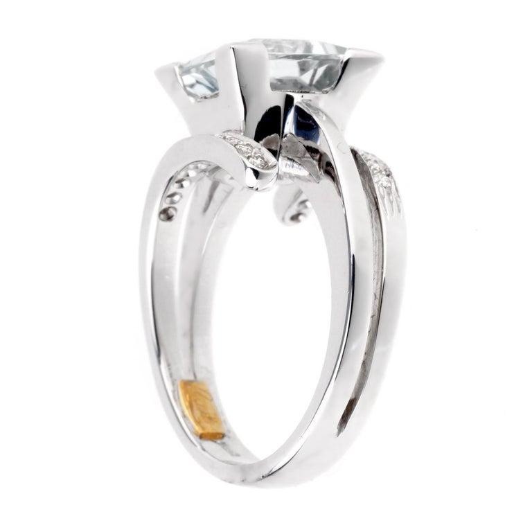 Women's or Men's Recarlo Aquamarine Diamond White Gold Ring For Sale