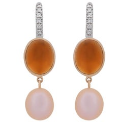 Mimi Milano Blue Citrine Pearl Diamond Gold Earrings