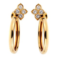 Cartier Flower Diamond Hoop Earrings