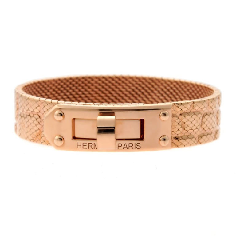 dea45f39d1d8 Hermes Kelly Rose Gold Bracelet For Sale at 1stdibs