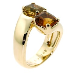 Hermes Citrine Crossover Gold Ring