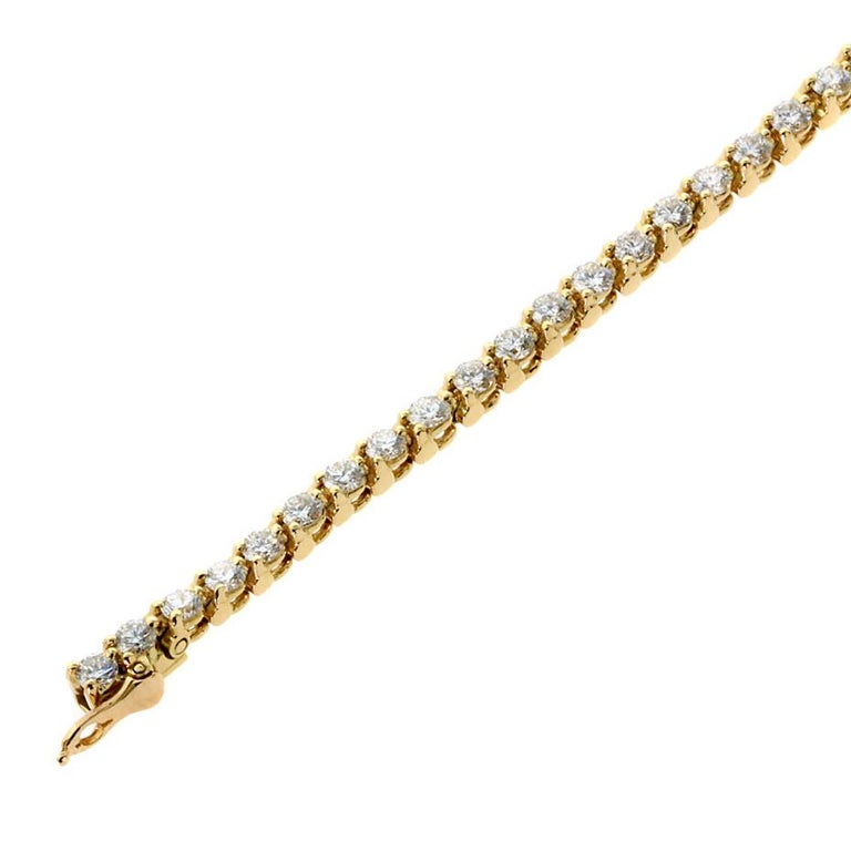 Women's Cartier Diamond Gold Tennis Bracelet For Sale
