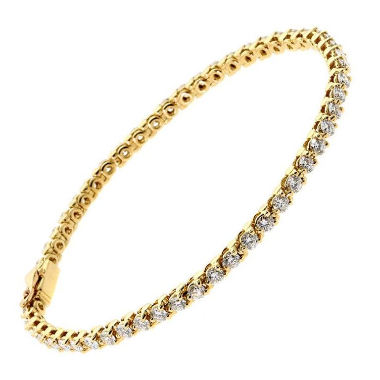 Women's Cartier Diamond Gold Tennis Bracelet For Sale
