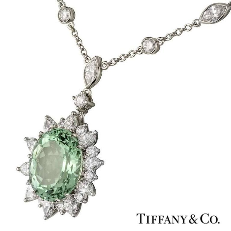 Tiffany & Co. Green Tourmaline Diamond Platinum Pendant 4