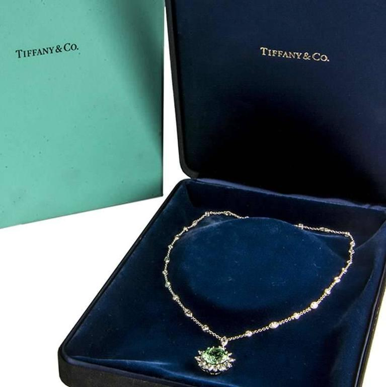 Tiffany & Co. Green Tourmaline Diamond Platinum Pendant 8