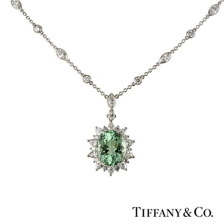 Tiffany & Co. Green Tourmaline Diamond Platinum Pendant 3