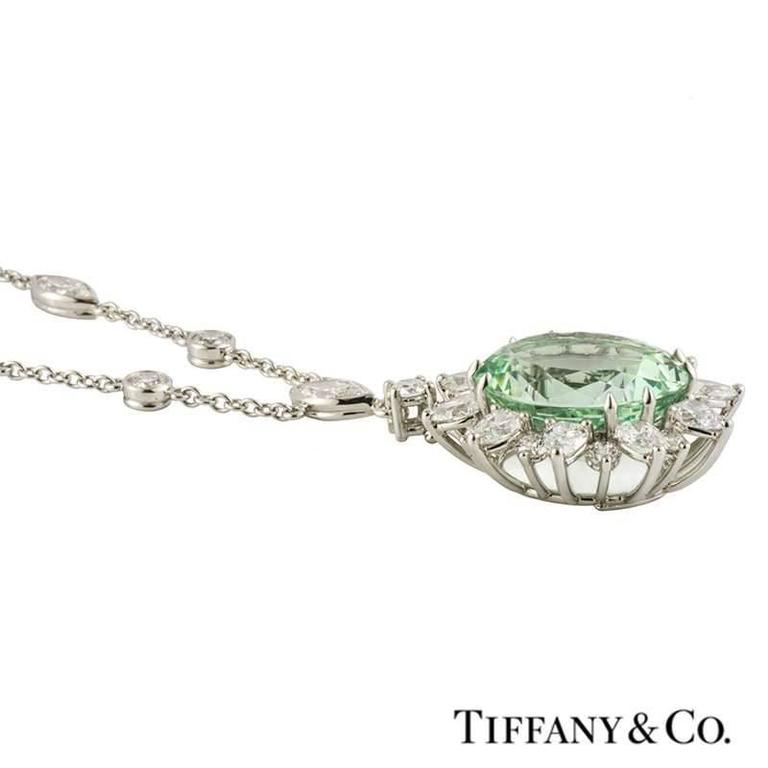 Tiffany & Co. Green Tourmaline Diamond Platinum Pendant 5