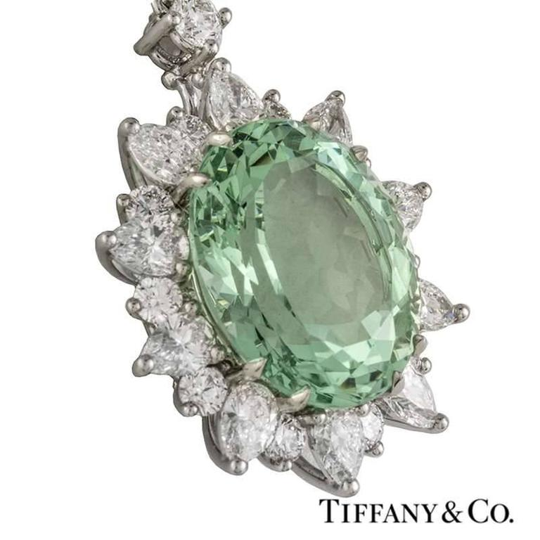 Tiffany & Co. Green Tourmaline Diamond Platinum Pendant 2