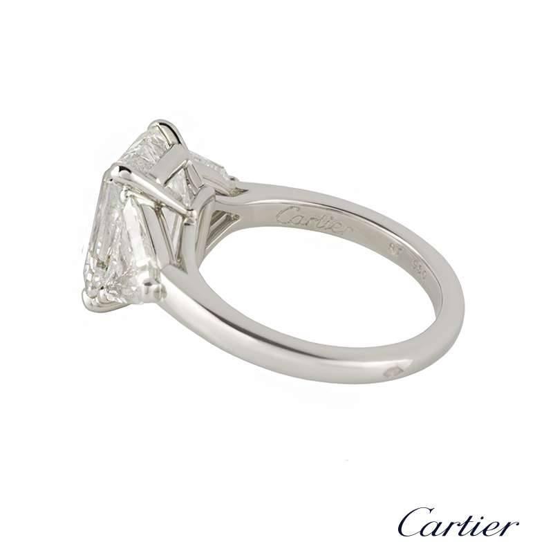 cartier emerald cut gold ring 5 03 carat