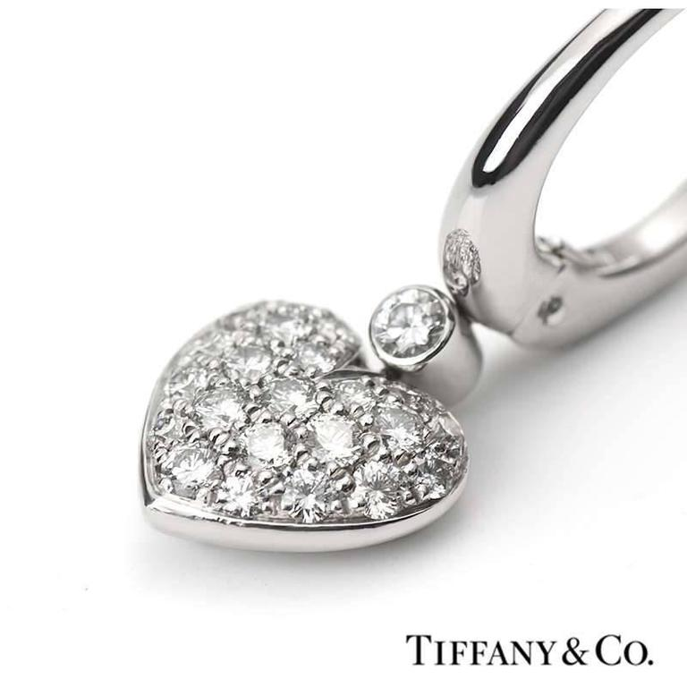 117d3f08d A pair of Tiffany & Co. heart drop earrings in platinum with pave set round