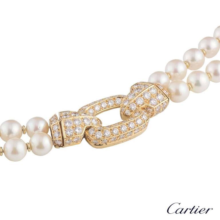 f066944766cc2 Cartier Pearl Diamond Clasp Necklace