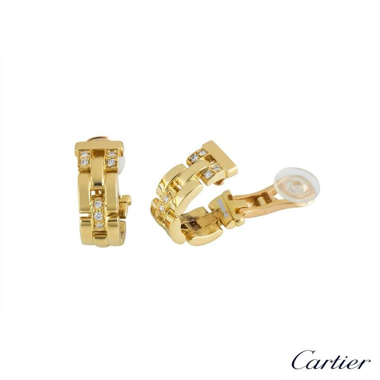Cartier Maillon Panther Diamond and Gold Earrings 3
