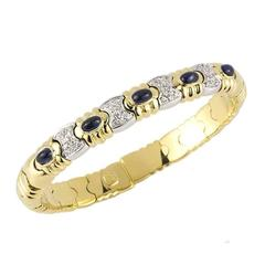 Sapphire and Diamond Cuff Bangle
