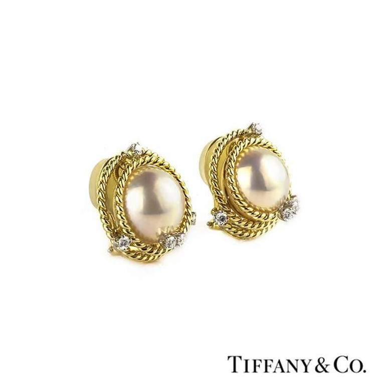 Classic Tiffany & Co. Schlumberger Diamond and Pearl Earrings In Excellent Condition For Sale In London, GB