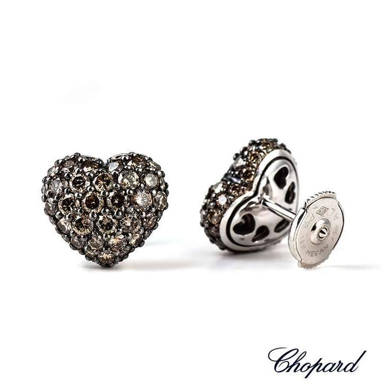 Chopard Fancy Brown Diamond Heart Earrings 2.51 Carat In Excellent Condition For Sale In London, GB