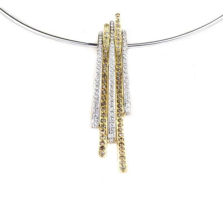 White and Yellow Gold Diamond Necklace and Earring Suite For Sale 1