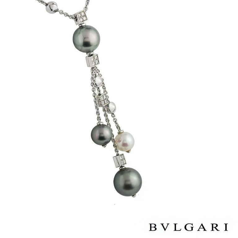 Bulgari Lucea Diamond and Pearl Necklace In Excellent Condition For Sale In London, GB