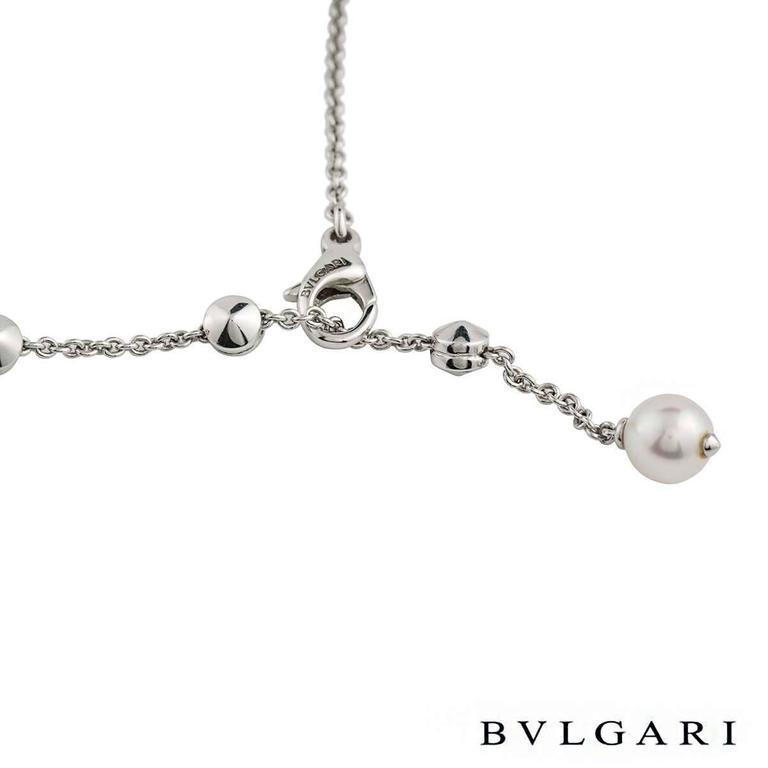 Women's Bulgari Lucea Diamond and Pearl Necklace For Sale