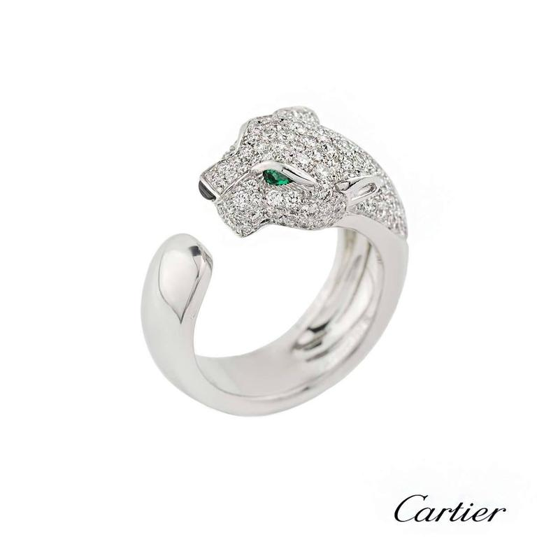 Cartier Panthere Onyx Emerald Diamond Gold Ring 2