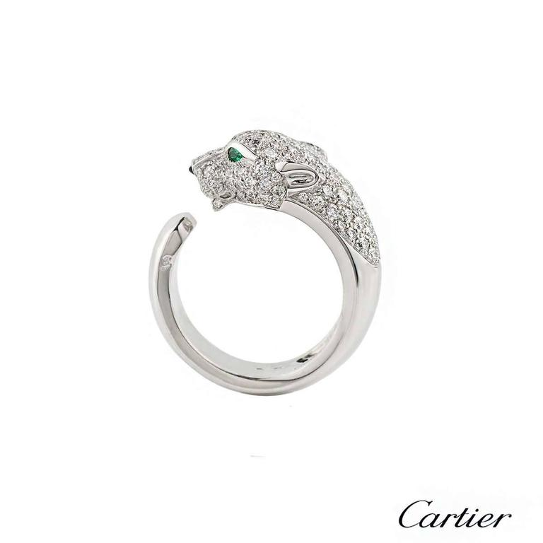 Cartier Panthere Onyx Emerald Diamond Gold Ring 4