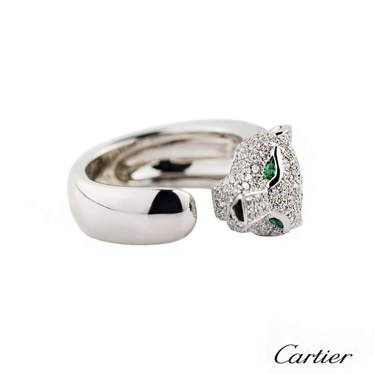 Cartier Panthere Onyx Emerald Diamond Gold Ring 3