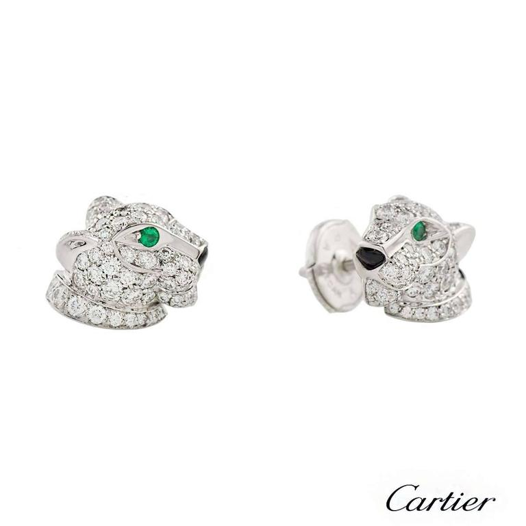 Cartier Panthere Onyx Emerald Diamond White Gold Earrings 2