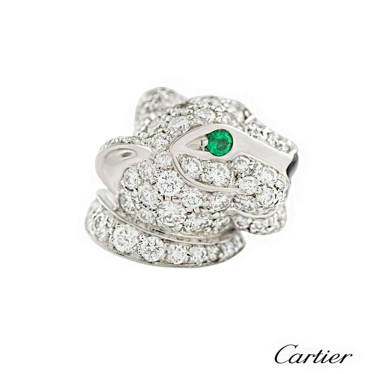 Cartier Panthere Onyx Emerald Diamond White Gold Earrings 3