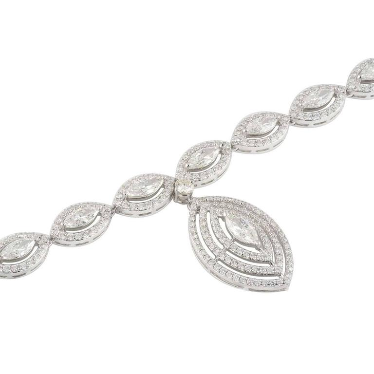 Exquisite Marquise Cut Diamond White Gold Necklace 2
