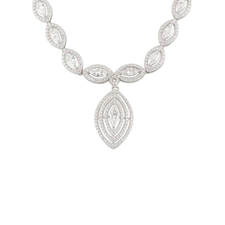 Exquisite Marquise Cut Diamond White Gold Necklace 3