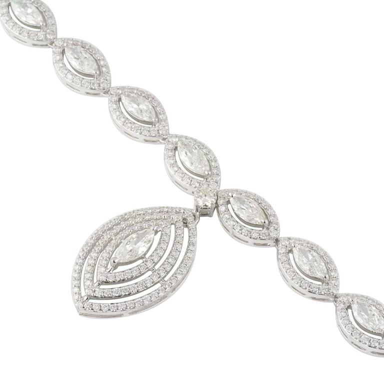 Exquisite Marquise Cut Diamond White Gold Necklace 4