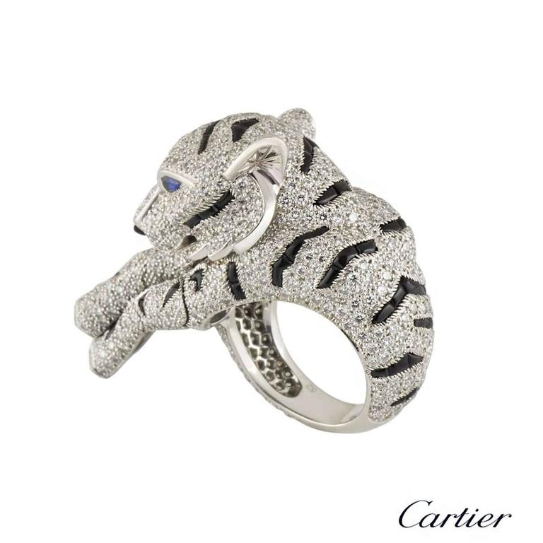 Cartier Pantheré Onyx Sapphire Diamond Platinum Ring For Sale 2