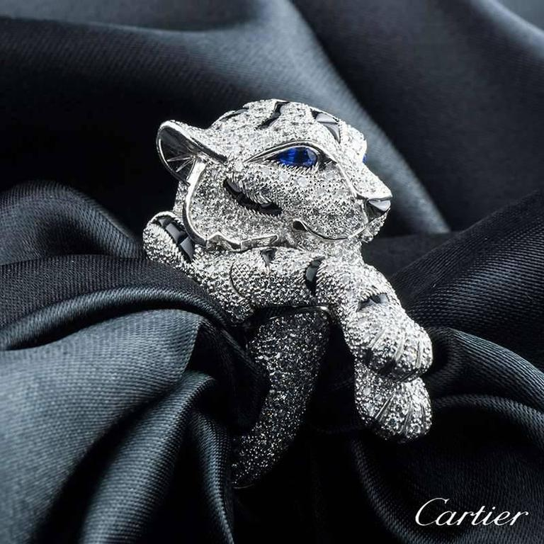 Cartier Pantheré Onyx Sapphire Diamond Platinum Ring In Excellent Condition For Sale In London, GB