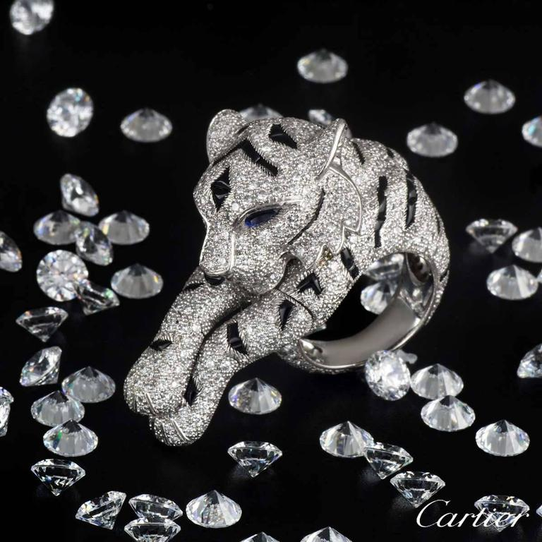 Women's Cartier Pantheré Onyx Sapphire Diamond Platinum Ring For Sale
