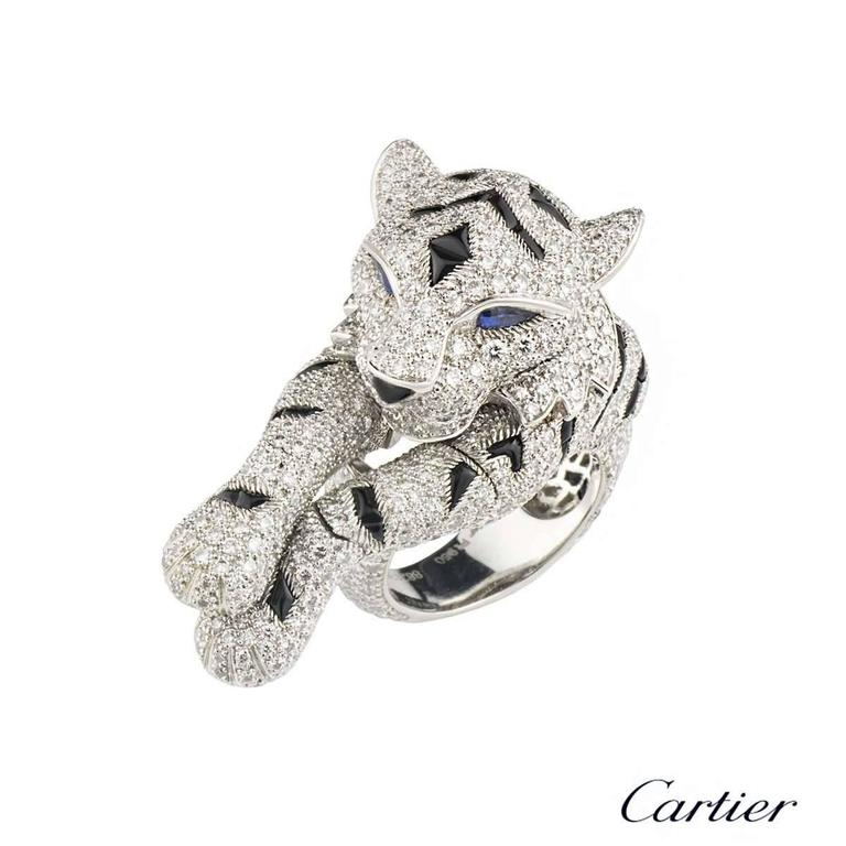 Cartier Pantheré Onyx Sapphire Diamond Platinum Ring For Sale 1