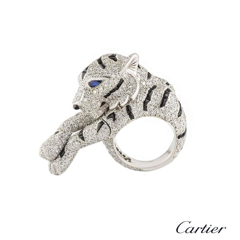 Cartier Pantheré Onyx Sapphire Diamond Platinum Ring For Sale 3
