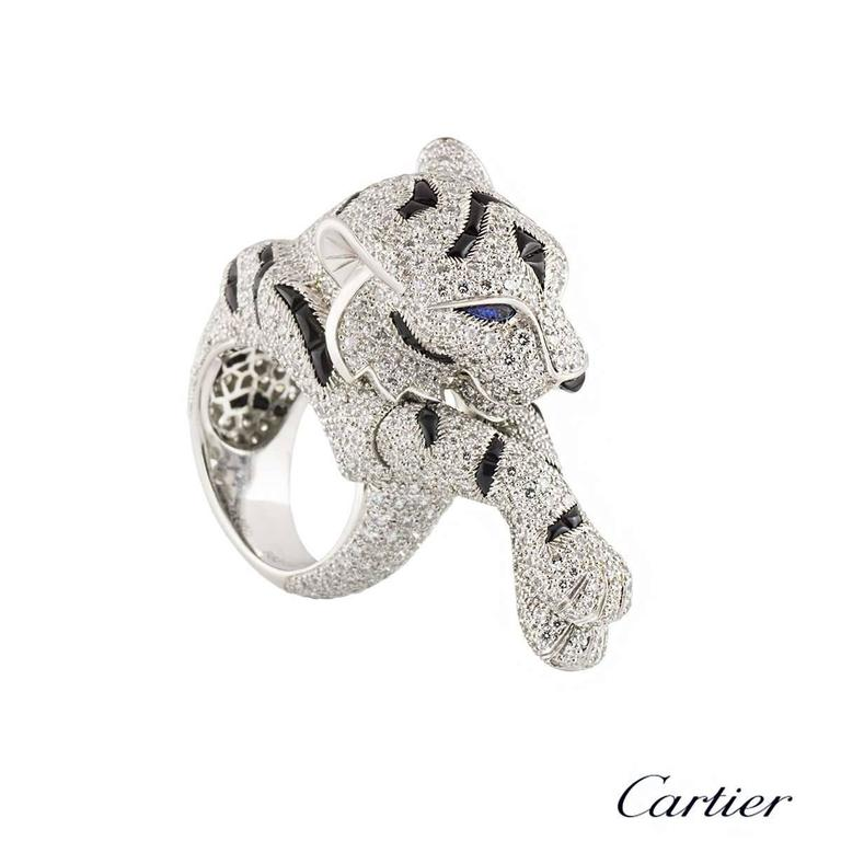 Cartier Pantheré Onyx Sapphire Diamond Platinum Ring For Sale 4