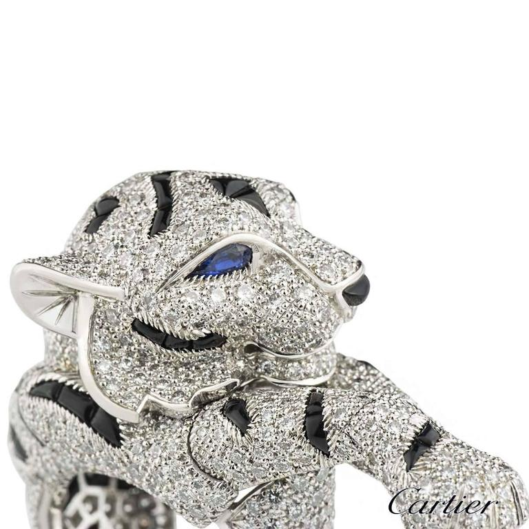 Cartier Pantheré Onyx Sapphire Diamond Platinum Ring For Sale 5