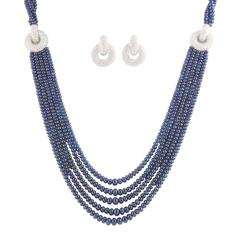 Diamond and Sapphire Bead Jewelry Suite