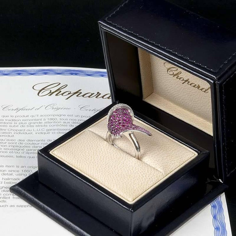 Chopard Ruby and Diamond Heart Flower Ring For Sale 1