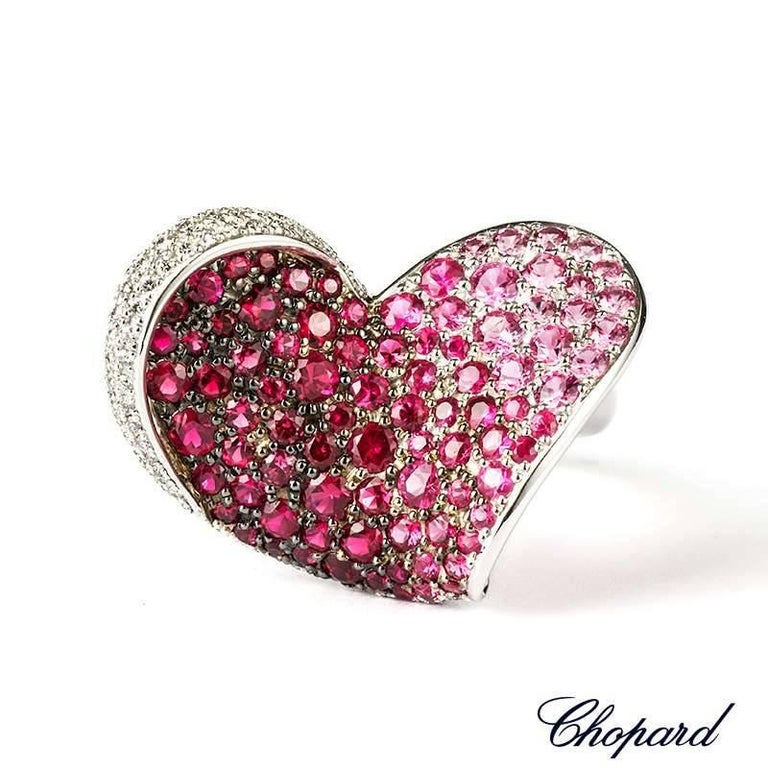 Women's Chopard Ruby and Diamond Heart Flower Ring For Sale
