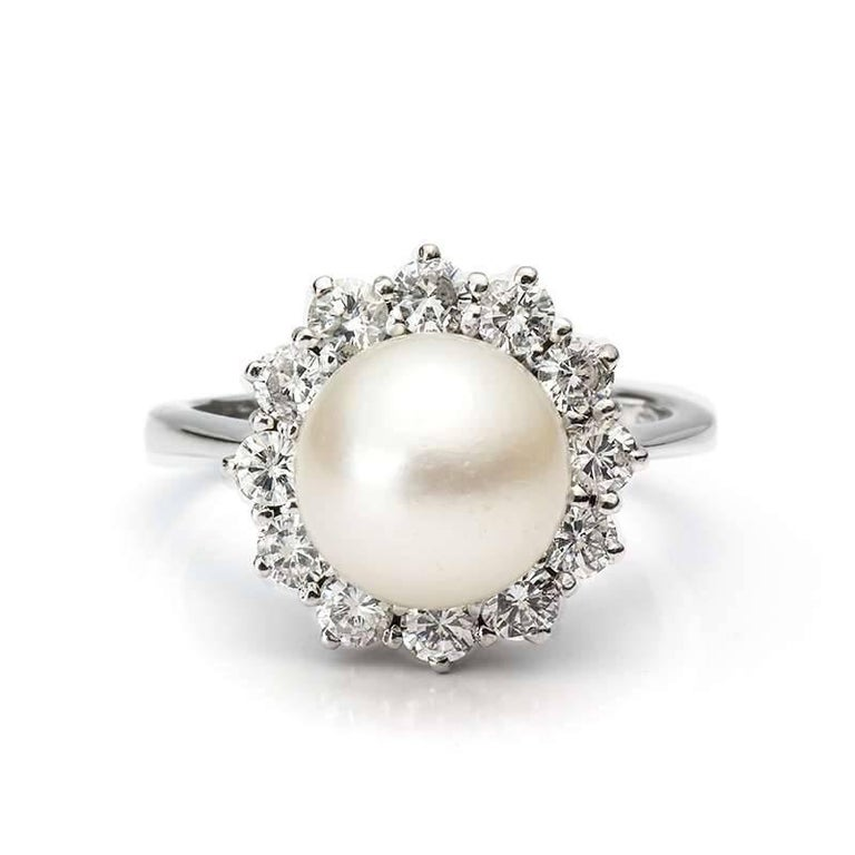 Pearl and Diamond Cluster Ring 2