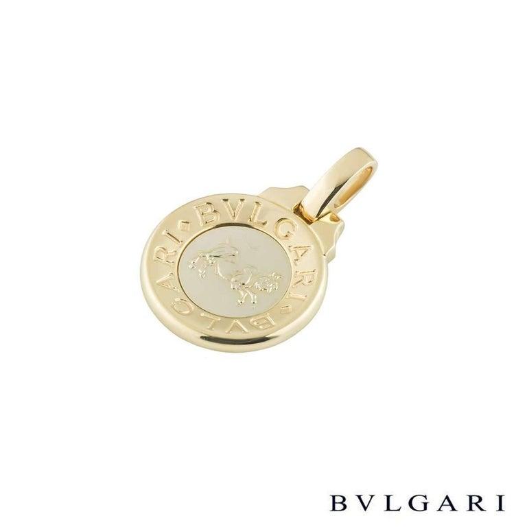Bulgari Taurus Zodiac Gold Pendant In Excellent Condition For Sale In London, GB