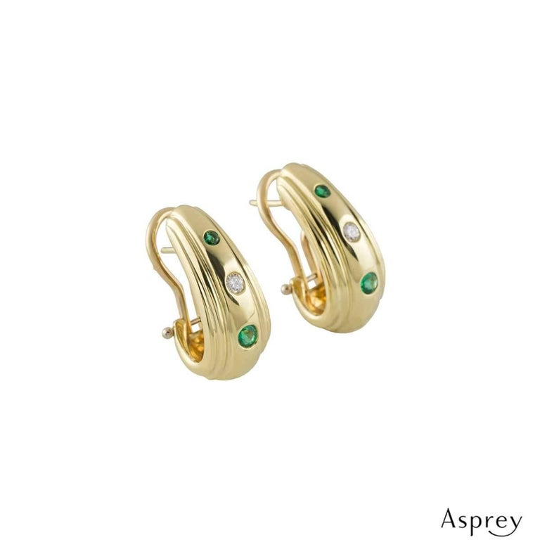 Asprey Diamond and Emerald Earrings In Excellent Condition For Sale In London, GB