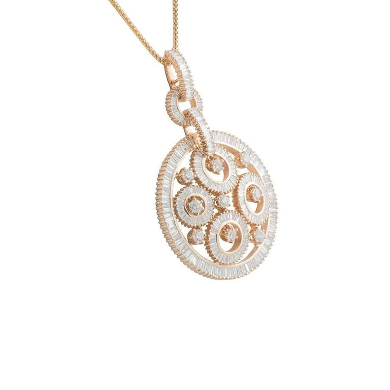 Striking Rose Gold Diamond Pendant In Excellent Condition For Sale In London, GB