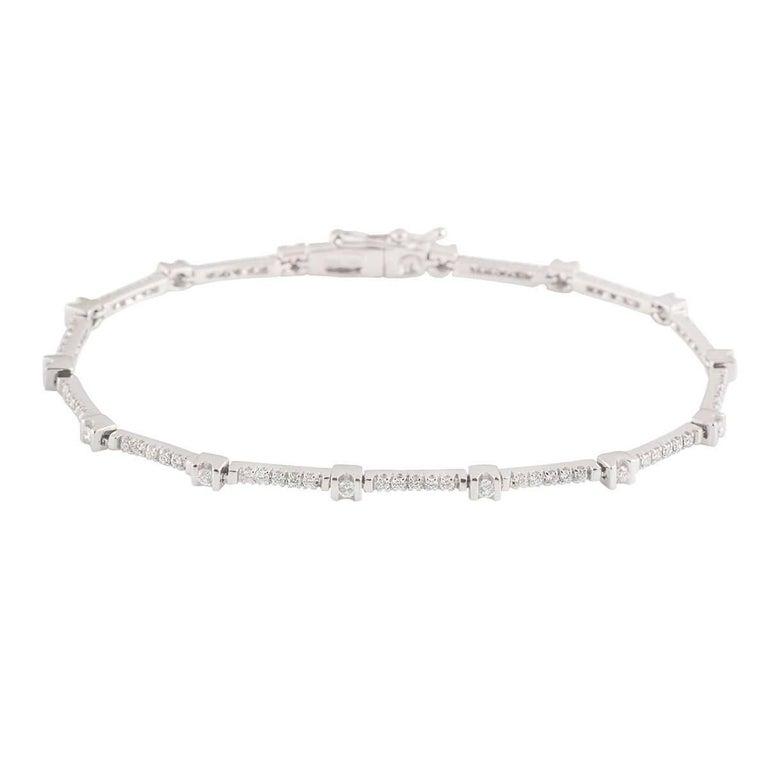White Gold Diamond Line Bracelet 0.87 Carat