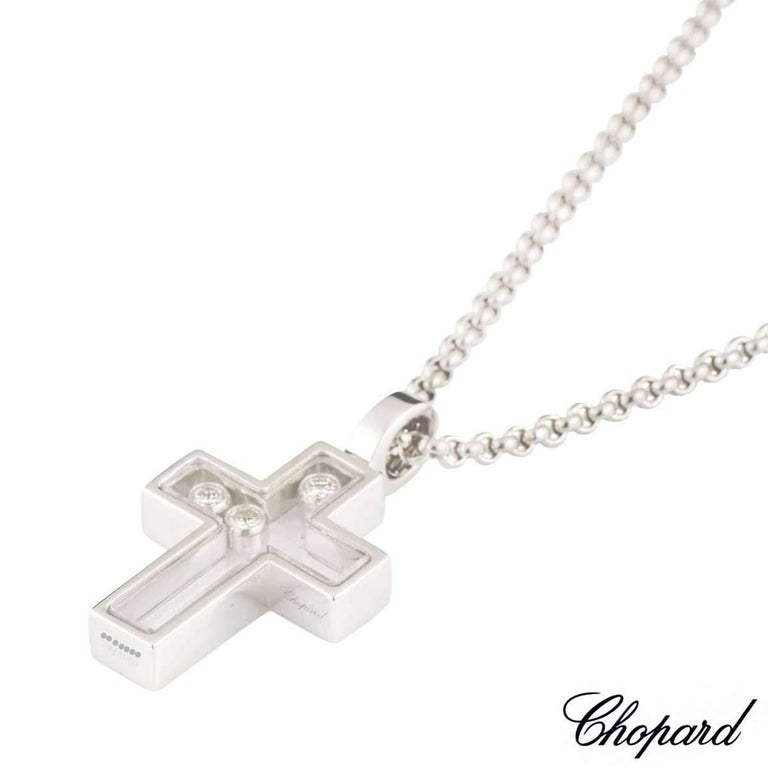 Chopard happy diamonds cross pendant at 1stdibs an 18k white gold cross pendant from the happy diamonds collection by chopard the cross aloadofball Image collections